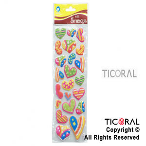 STICKER HS4478-3 CORAZONES RELIEVE x 12