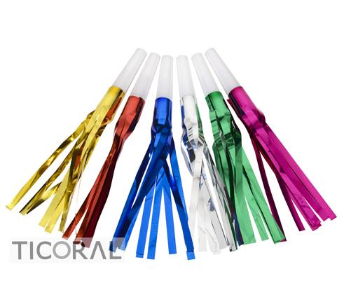 CORNETA CON FLECOS METALIZADOS DE COLORES HS7800-1 x 12