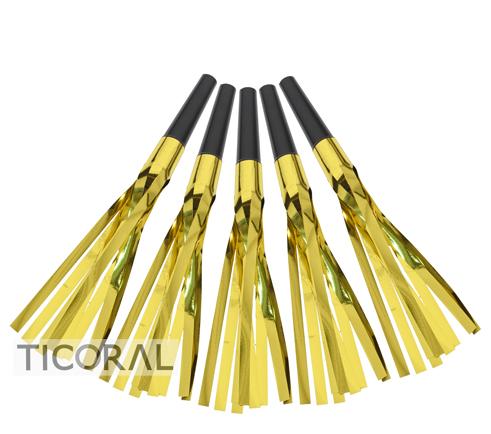 CORNETA CON FLECOS METALIZADOS ORO Y NEGRO HS7800-2 x 12