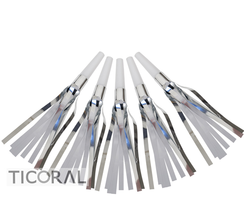 CORNETA CON FLECOS METALIZADOS PLATA Y BLANCO HS7800-3 x 12
