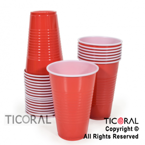 VASO ROJO DENTRO BLANCO GRANDE 16 oz 480 ml HS8202 X 25