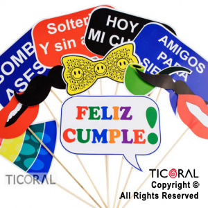 PHOTO PROPS FELIZ CUMPLE X12