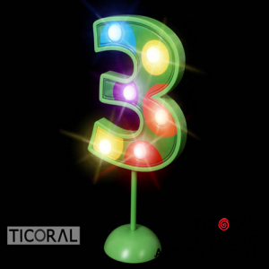 NUMERO 3 GIGANTE LUMINOSO MULTICOLOR x 1