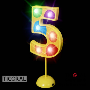 NUMERO 5 GIGANTE LUMINOSO MULTICOLOR x 1