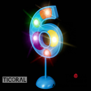NUMERO 6 GIGANTE LUMINOSO MULTICOLOR x 1