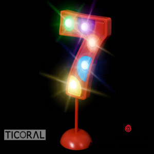 NUMERO 7 GIGANTE LUMINOSO MULTICOLOR x 1