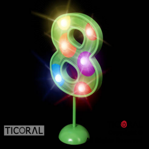 NUMERO 8 GIGANTE LUMINOSO MULTICOLOR x 1