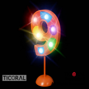 NUMERO 9 GIGANTE LUMINOSO MULTICOLOR x 1