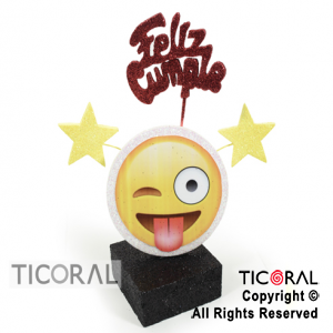ADORNO CUBITO ECO FELIZ CUMPLE EMOTICON TELGO x 1