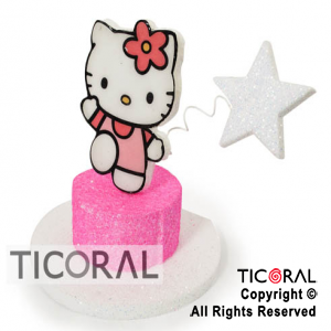 ADORNO TIMBAL SIMPLE C/FIGURA KITTY TELGO x 1