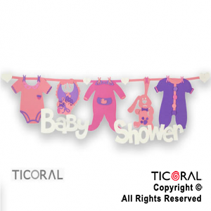 CARTEL BABY SHOWER GOMA EVA LB ROSA x 1