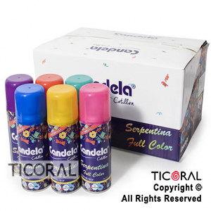 SERPENTINA CANDELA FULL COLOR EN AEROSOL COLORES SURTIDOS X 24