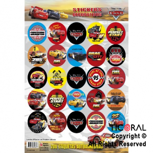 CARS 2019 STICKERS AUTOADHESIVOS 8 x 25 UNID