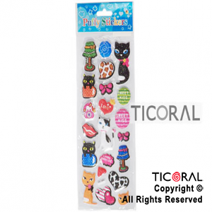 STICKER HS3538-6 GATITOS/CORAZON C/BRILL x 12