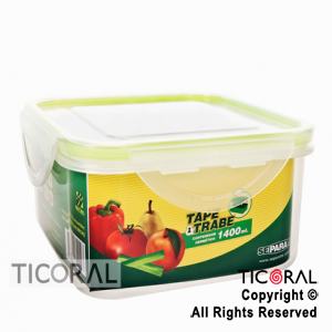 TUPPER CUADRADO 1400 ML TAPE Y TRABE X 3