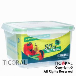 TUPPER CUADRADO 2500 ML TAPE Y TRABE X 3