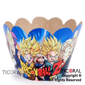 DRAGON BALL FAJA CUBRE CUPCAKE C/TOPPER x 10