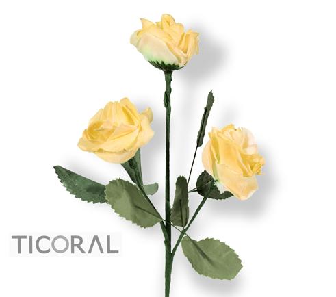 FLOR HS6620-5  VARA DE 3 ROSAS CHICAS TELA AMARILLA x 1