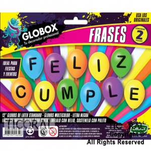 GLOBO FRASE IMPRESO FELIZ CUMPLE MULTICOLOR GLOBOX 12