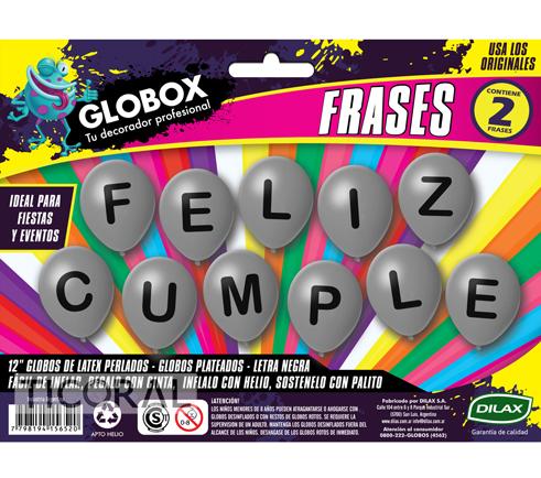 GLOBO FRASE IMPRESO FELIZ CUMPLE PLATA GLOBOX 12