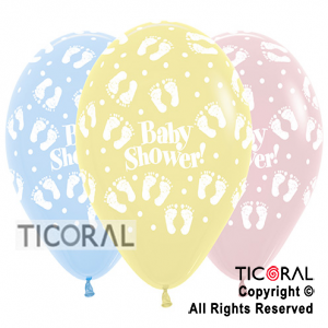 GLOBO S R12 INF FASHION BABY SHOWER HUELLITAS SURTIDO COLORES PASTEL x 50