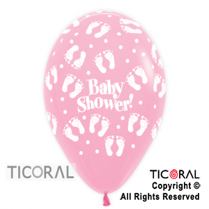 GLOBO S R12 INF STD ROSA PASTEL BABY SHOWER PIECITOS x 50