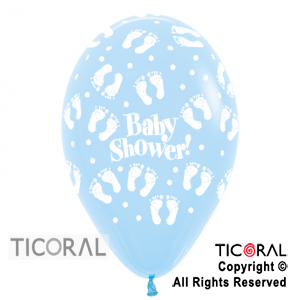 GLOBO S R12 INF FASHION PASTEL BABY SHOWER PIECITOS AZUL CELESTE x 50