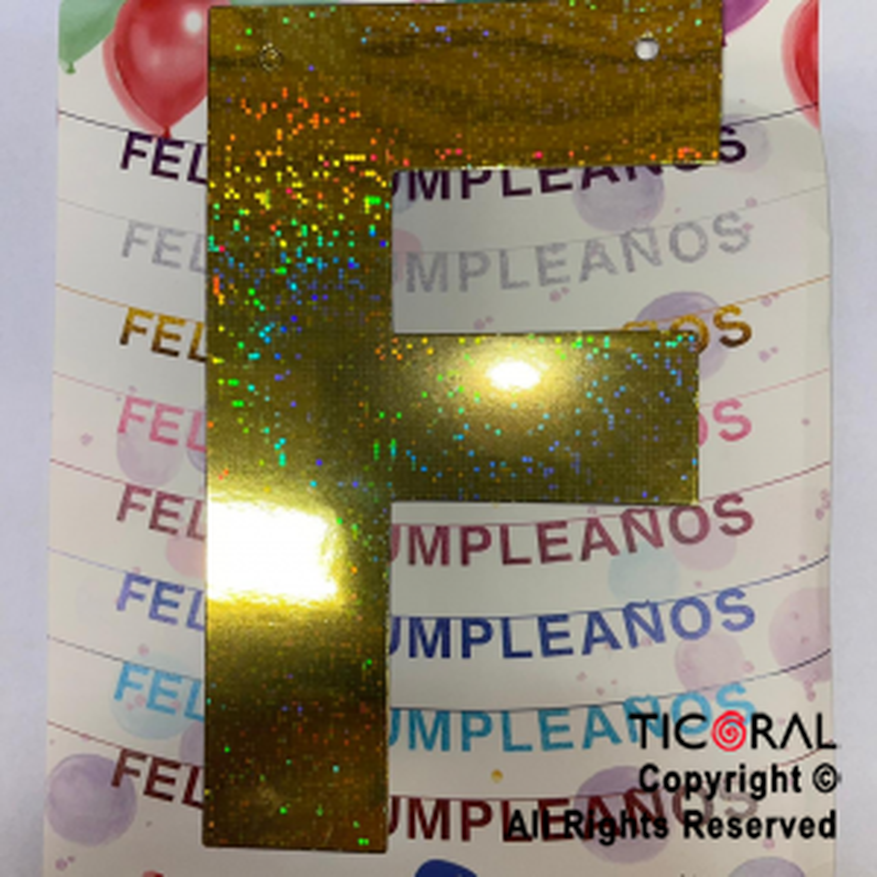 GUIRNALDA FRASE FELIZ CUMPLEAÑOS HOLOGRAMA DORADO 15CM x 1