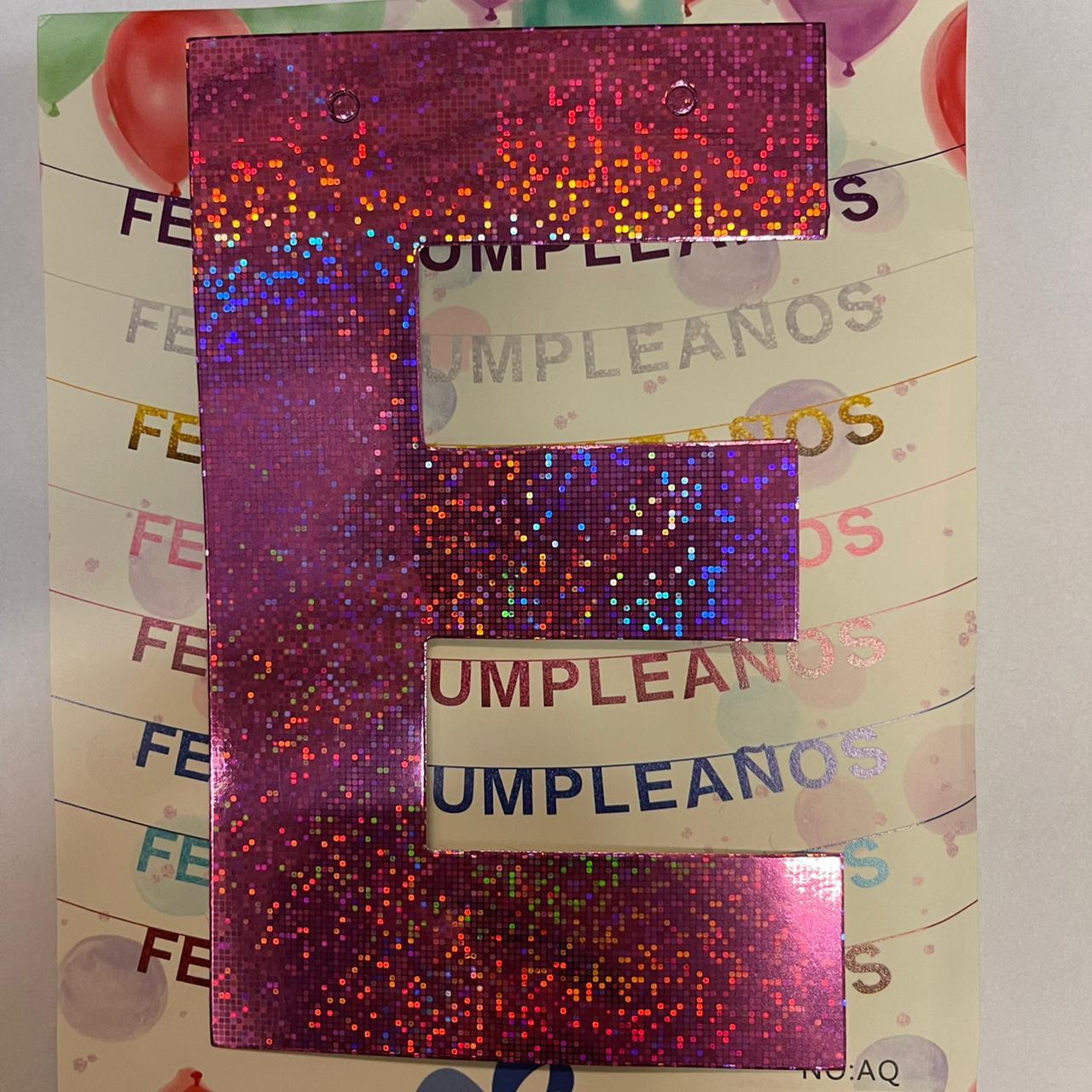 GUIRNALDA FRASE FELIZ CUMPLEAÑOS HOLOGRAMA ROSA 15CM x 1