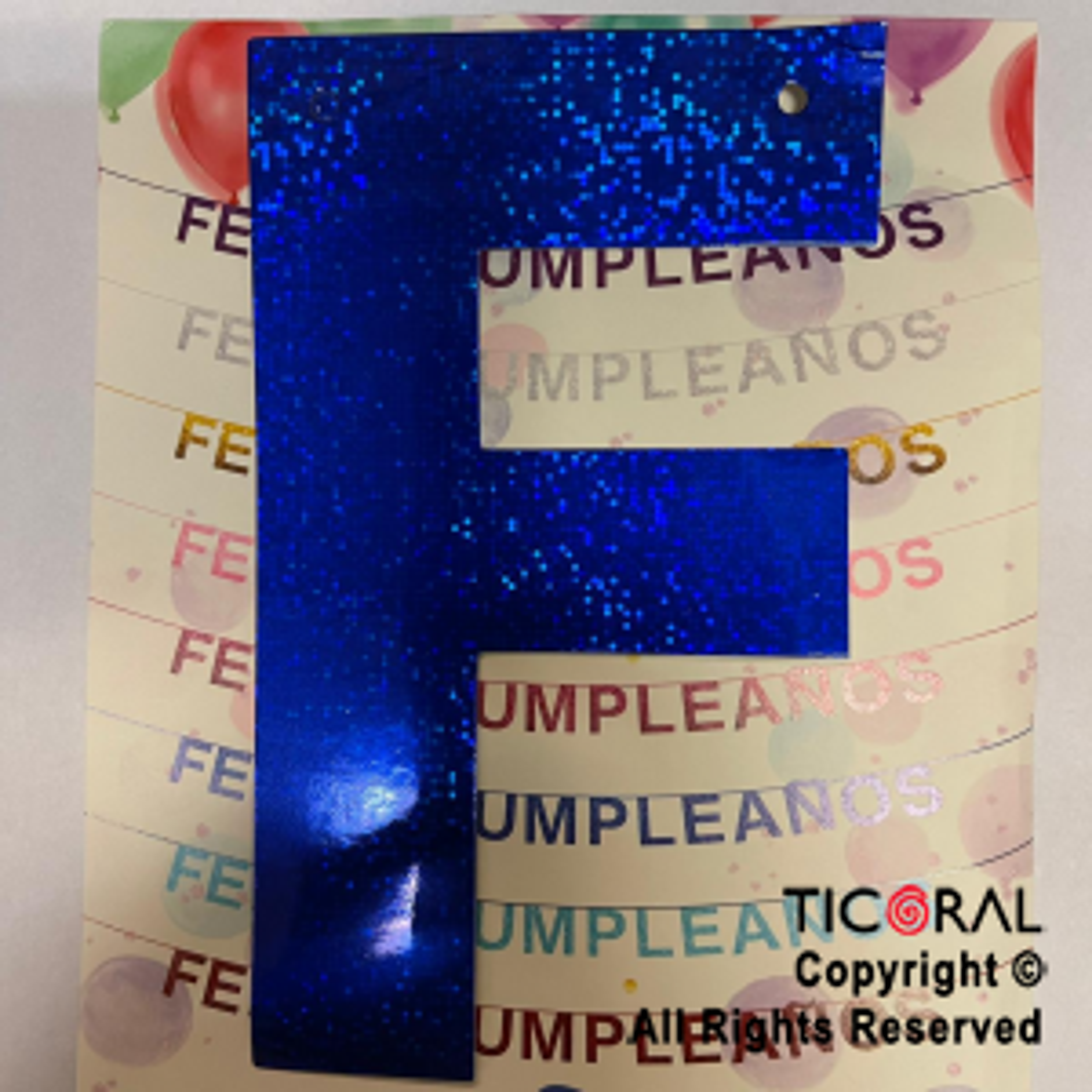 GUIRNALDA FRASE FELIZ CUMPLEAÑOS HOLOGRAMA AZUL 15CM x 1