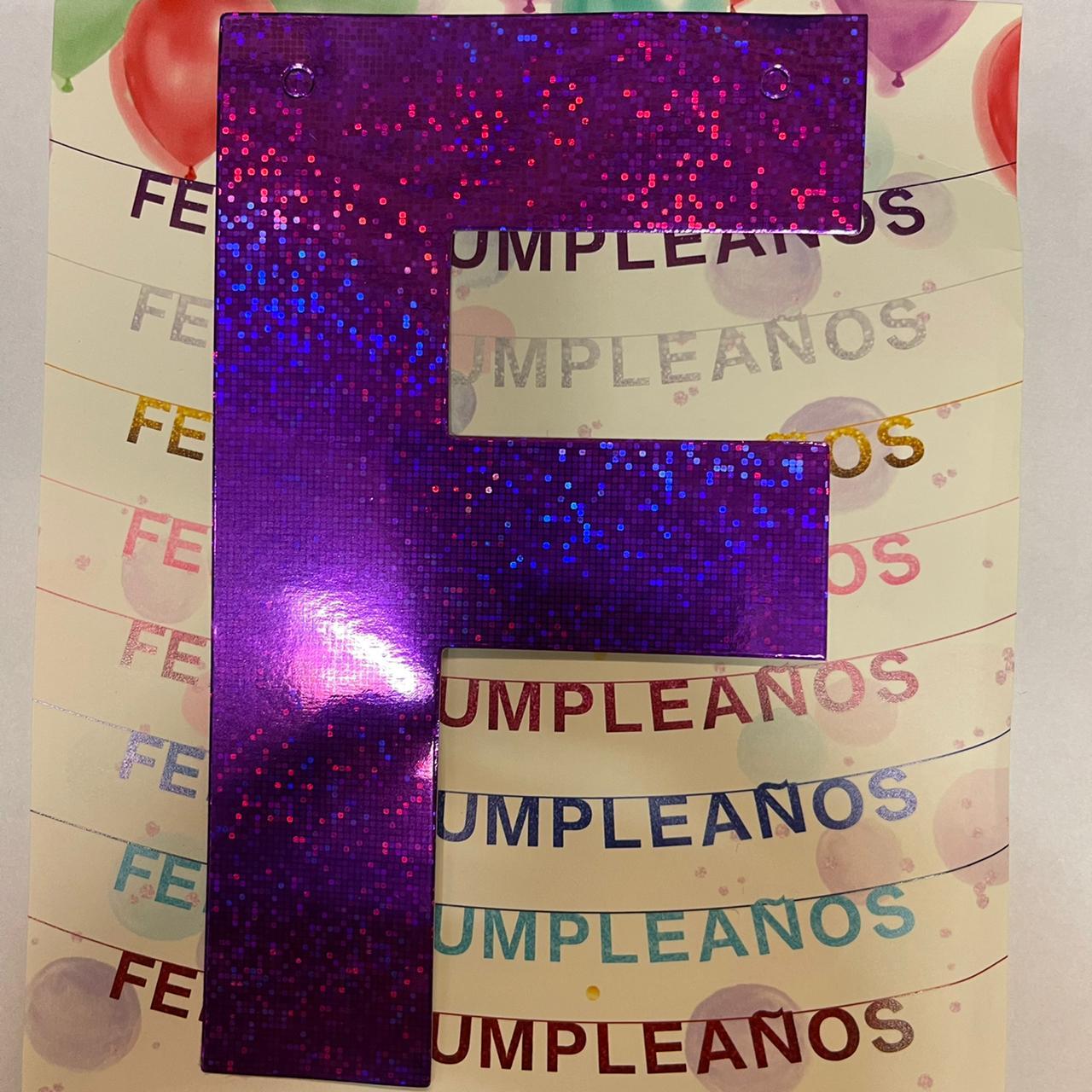 GUIRNALDA FRASE FELIZ CUMPLEAÑOS HOLOGRAMA VIOLETA 15CM x 1