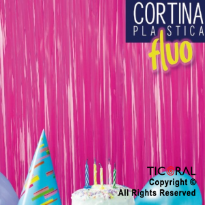 CORTINA PLASTICA COLOR FUCSIA FLUO 2.2 MT (80CM)  x 1