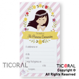 INVITACION SIMPLE COMUNION NIÑA DIAGONALES 5x 10