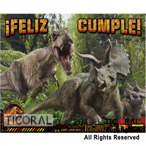 JURASSIC WORLD AFICHE FELIZ CUMPLE x 1