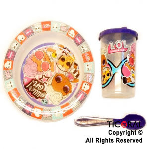 LOL SET BLISTER BOWL Y VASO TAPA TOMADORA Y CUCHARA x 1