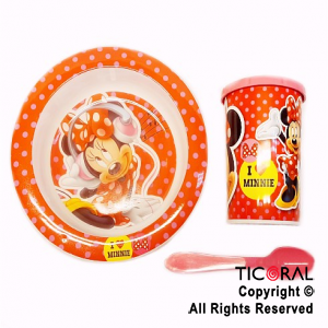 MINNIE SET BLISTER BOWL Y VASO TAPA TOMADORA Y CUCHARA x 1