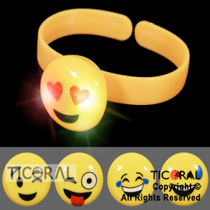 PULSERA LUMINOSA AMARILLA CON EMOTICON HS7823 X 12