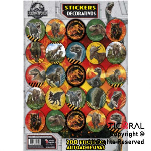 JURASSIC WORLD STICKERS AUTOADHESIVOS 8 x 25 UNID