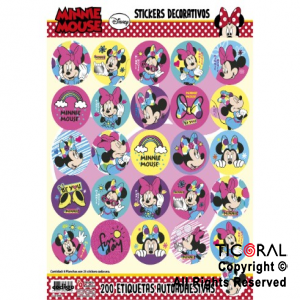 MINNIE STICKERS AUTOADHESIVOS 8 x 25 UNID