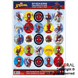 SPIDERMAN STICKERS AUTOADHESIVOS 8 x 25 UNID