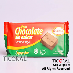 CHOCOLATE SIN AZUCAR FAMILIAR 1 CAJA X 10 UNID X 100GR MAPSA