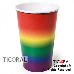 VASO POLIPAPEL FRANJAS DEGRADE MULTICOLOR 240CC X 8 UNID